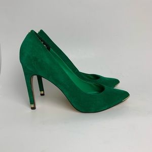 Ted Baker green suede heels with gold details
